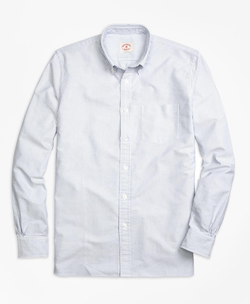 Lyst brooks brothers stripe oxford sport shirt in blue for Brooks brothers sports shirts