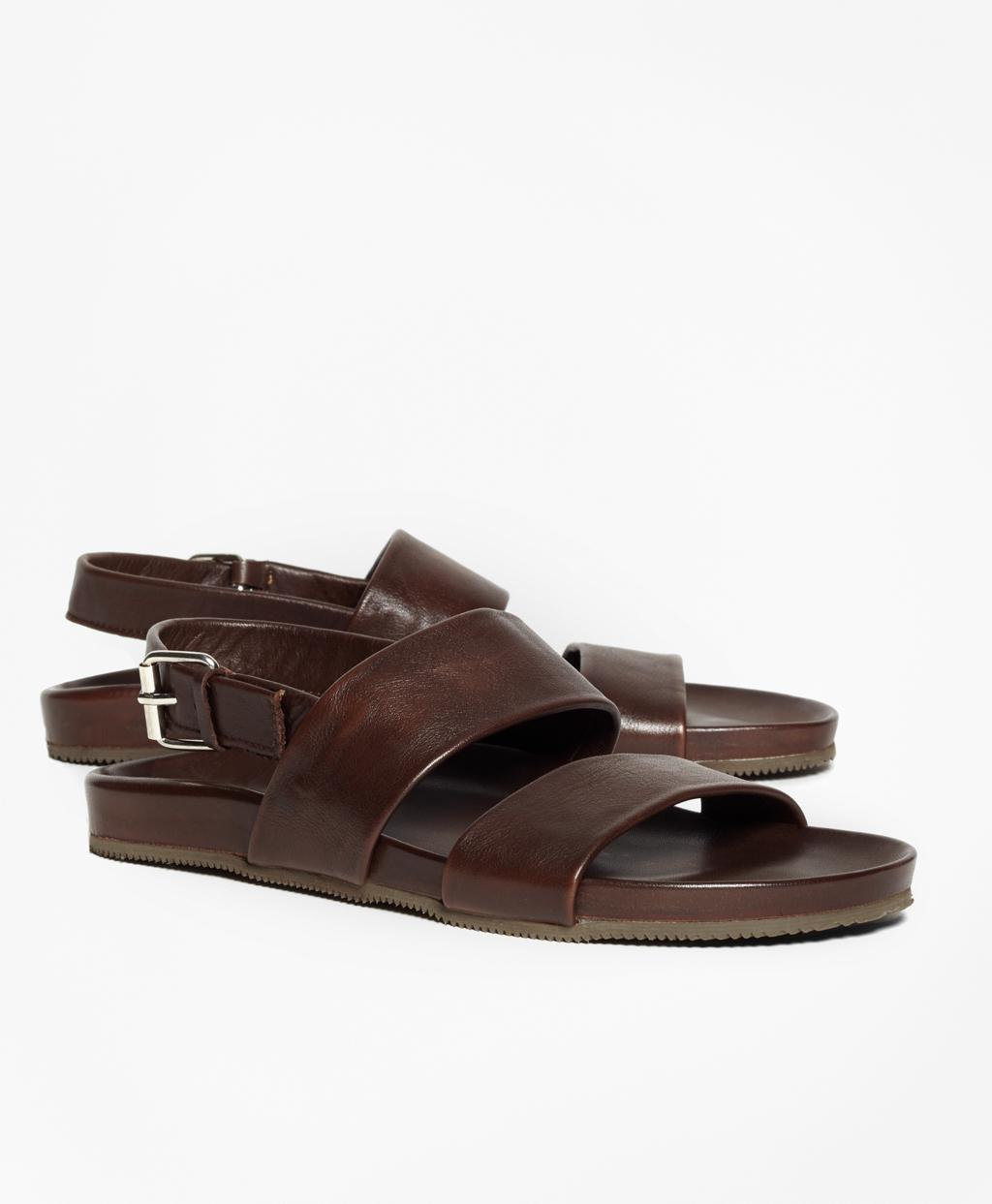 48f711eaa Lyst - Brooks Brothers Double Strap Leather Sandals in Brown for Men