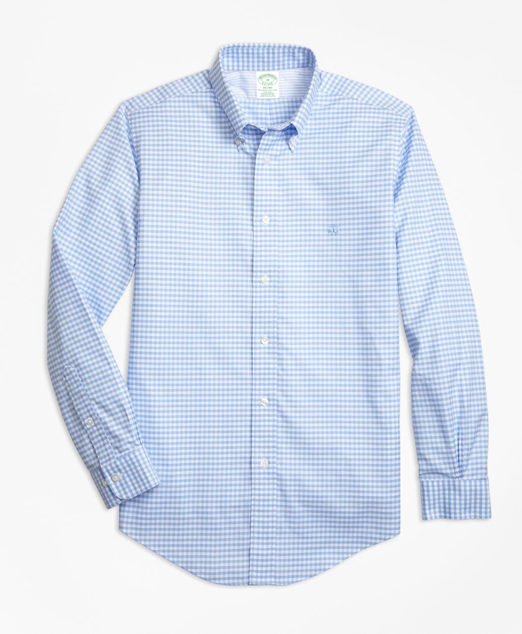 Lyst brooks brothers non iron milano fit gingham sport for Brooks brothers non iron shirts review