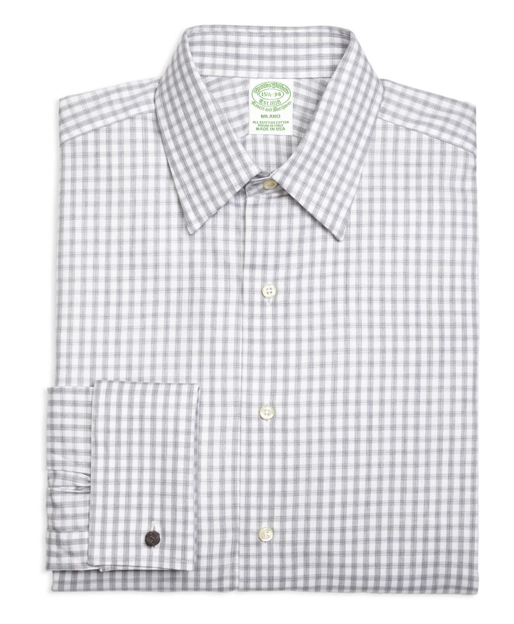 Lyst brooks brothers regent fit heathered gingham french for Gingham french cuff shirt