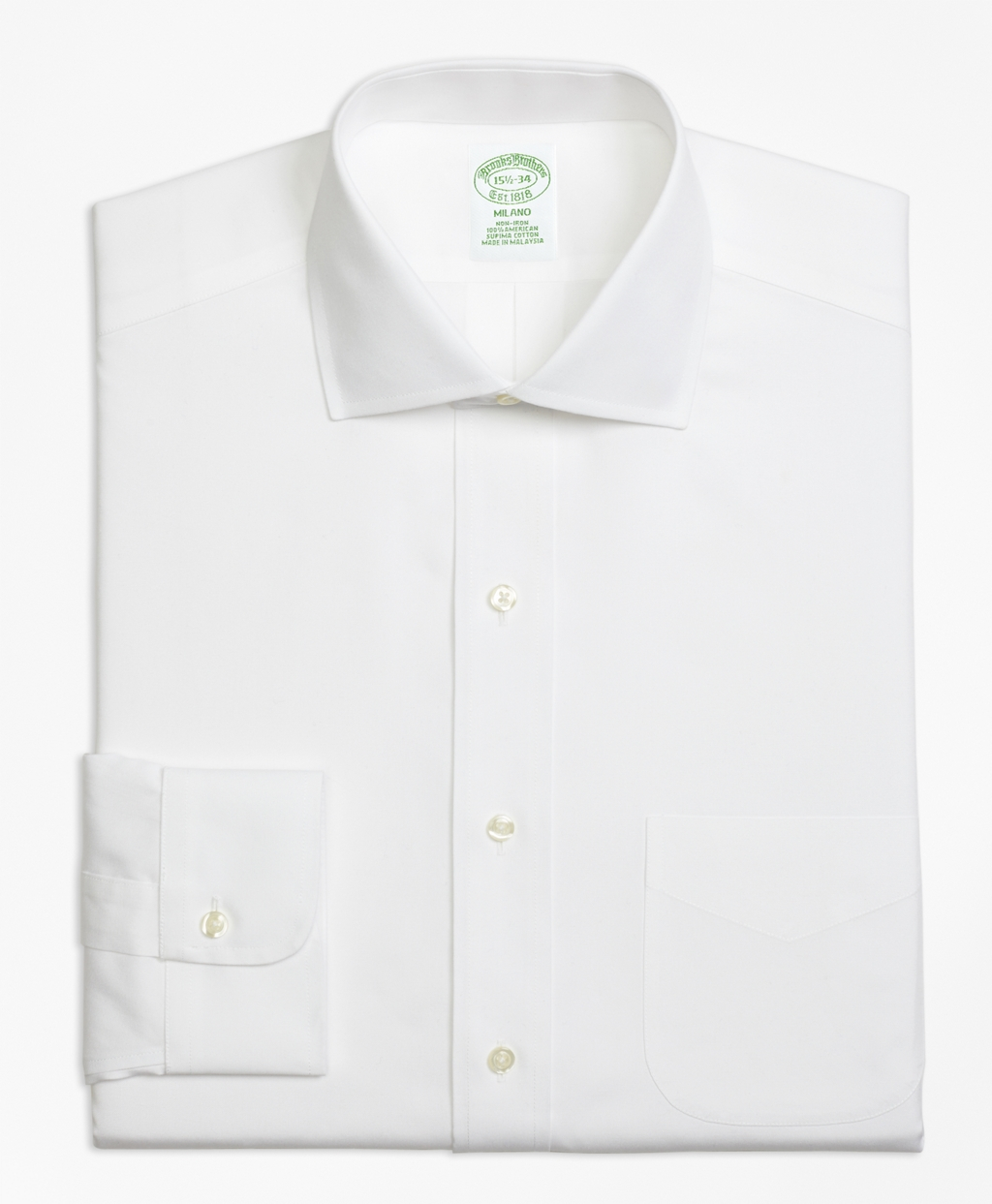 Brooks brothers non iron milano fit spread collar dress for White non iron dress shirts