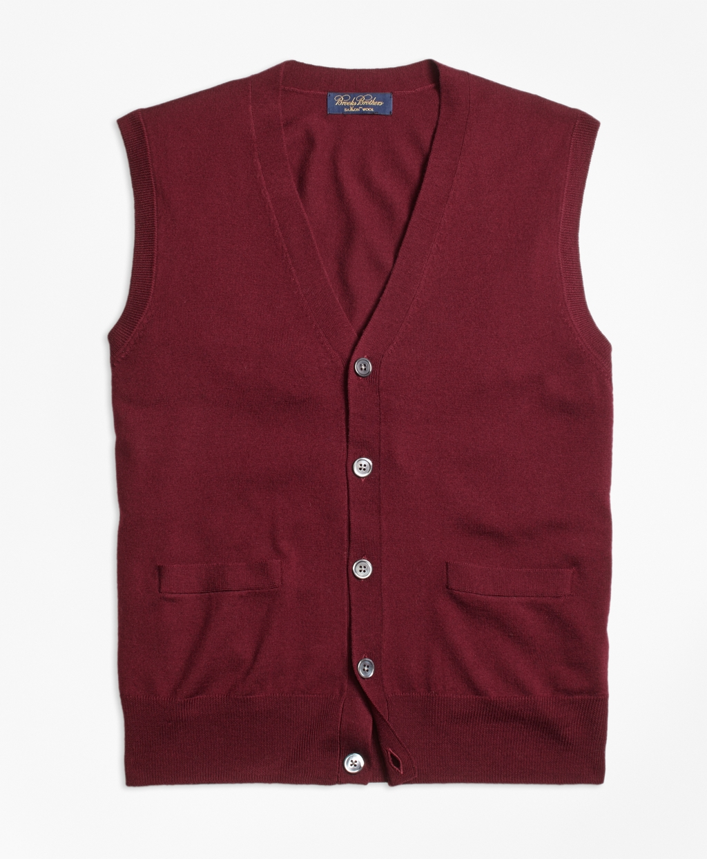 Brooks brothers Saxxon Wool Button-front Sweater Vest in Red for ...