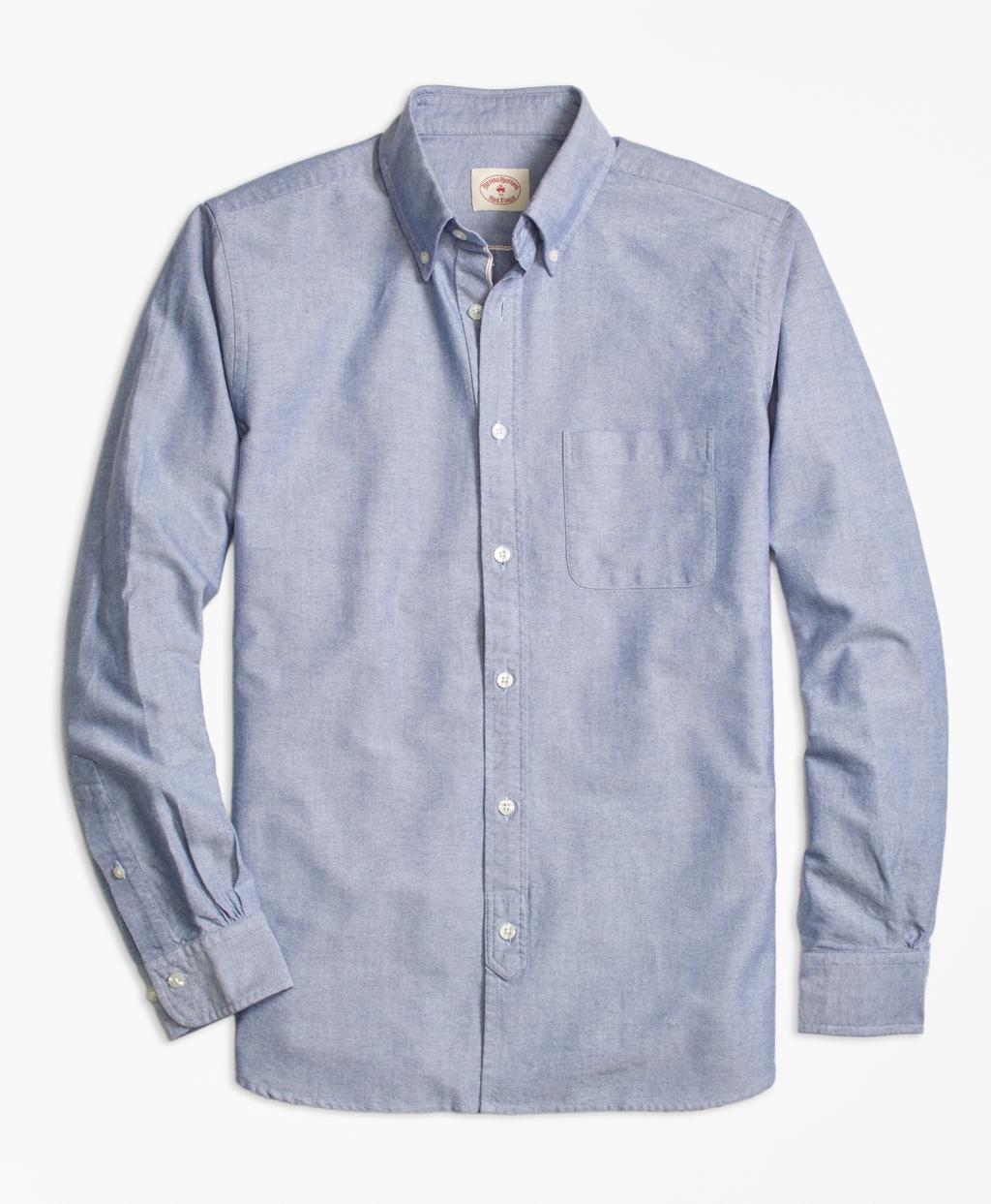 Lyst brooks brothers selvedge oxford sport shirt in blue for Brooks brothers sports shirts