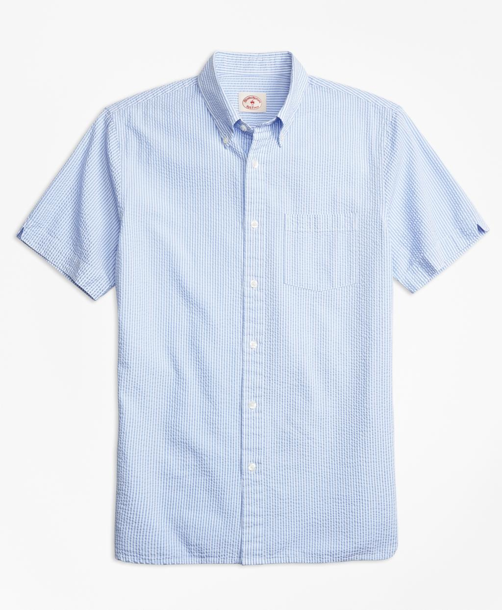 Lyst brooks brothers stripe cotton seersucker short for Mens short sleeve seersucker shirts