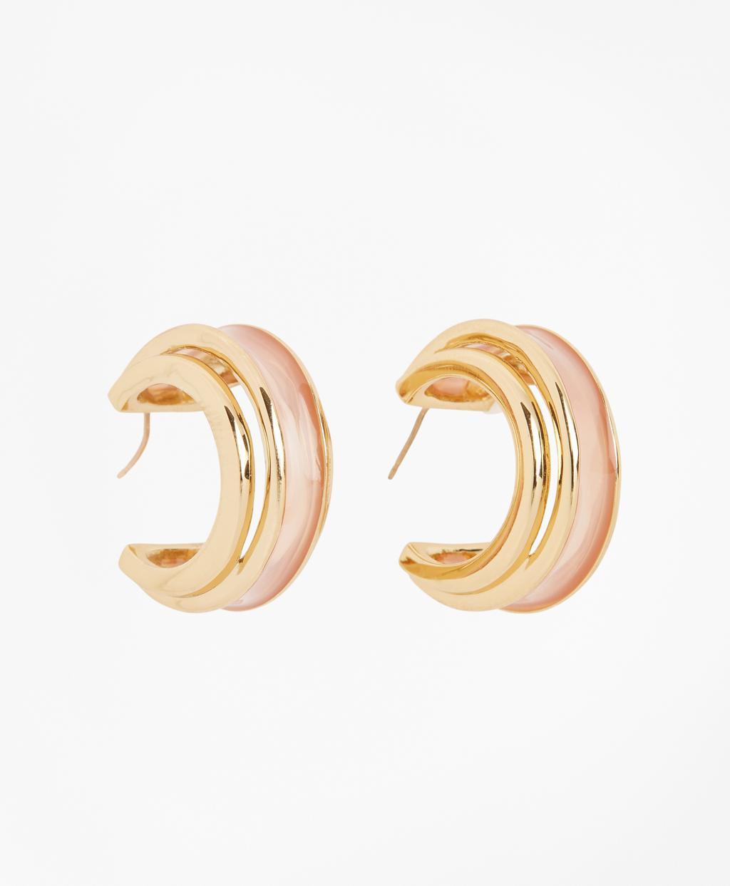 4fb59bf9e Lyst - Brooks Brothers Plique-a-jour Enamel Hoop Earrings in Metallic