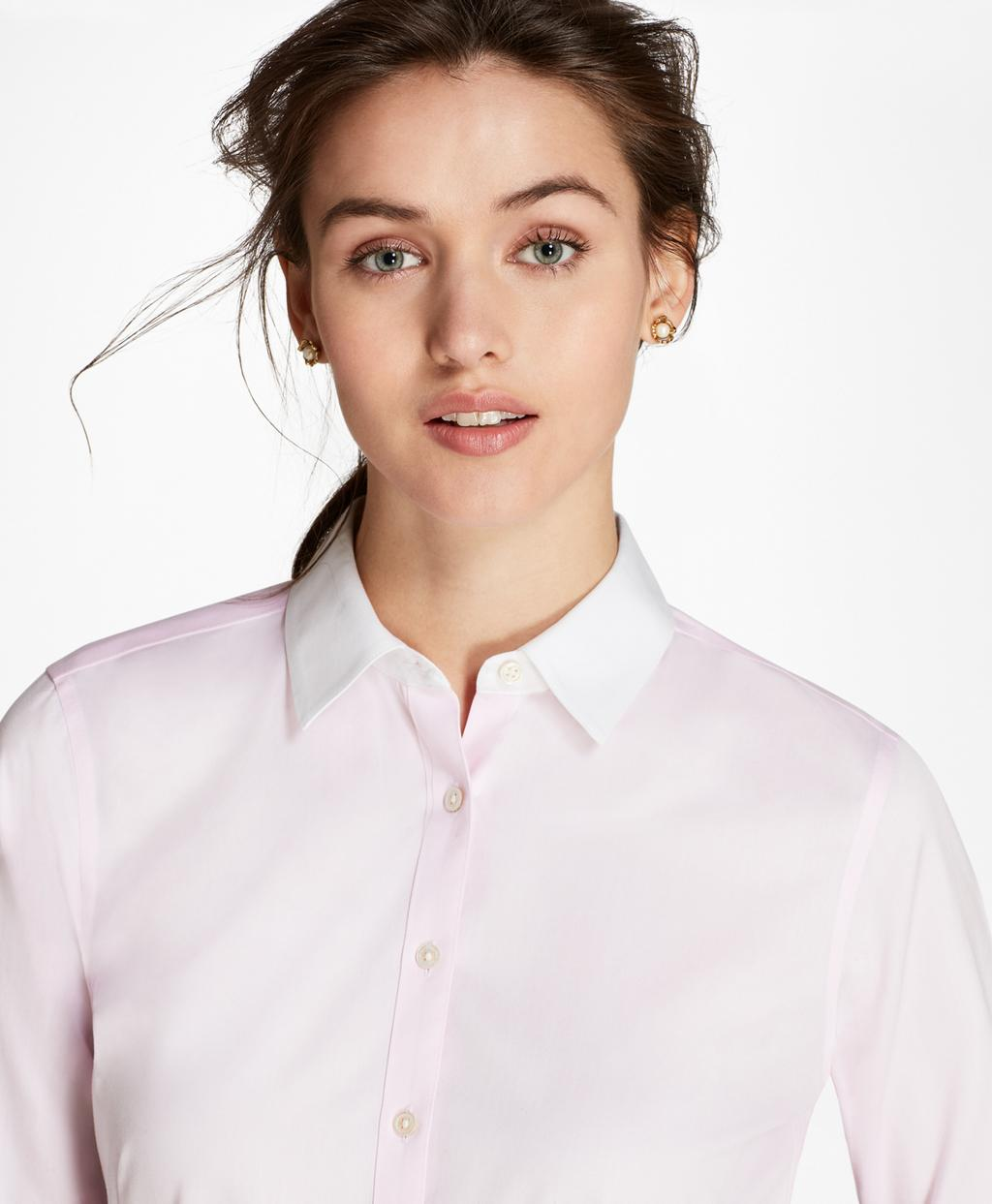 lyst brooks brothers petite non iron contrast collar cotton twill fitted shirt in pink. Black Bedroom Furniture Sets. Home Design Ideas