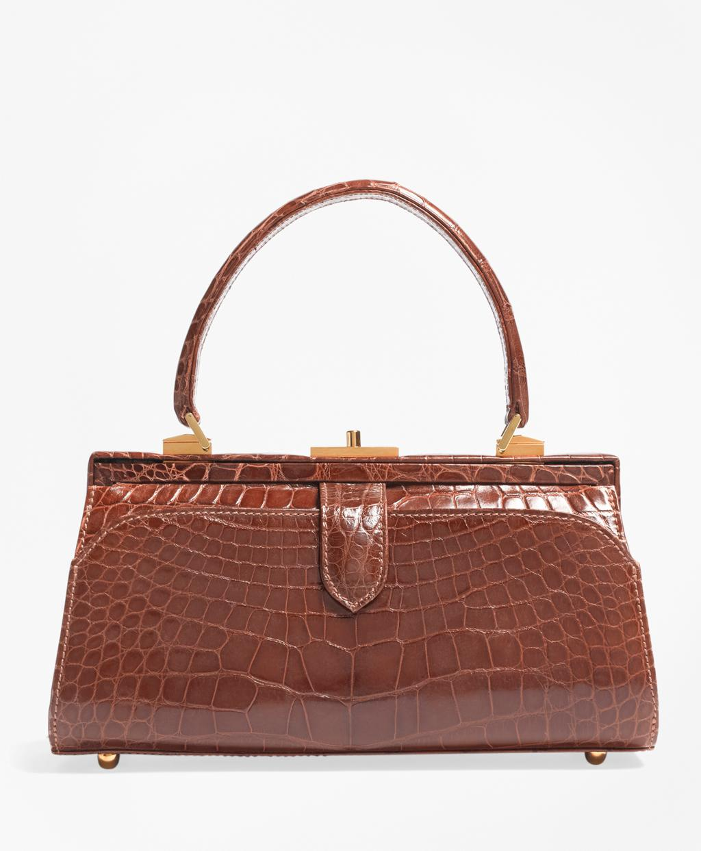 Brooks Brothers Women S Brown Glazed Alligator Frame Bag