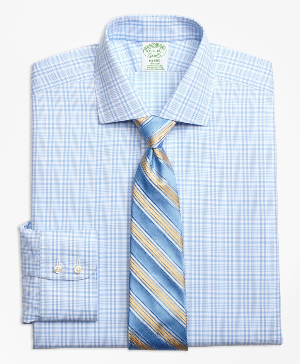 Lyst brooks brothers non iron milano fit glen plaid for Brooks brothers dress shirt fit