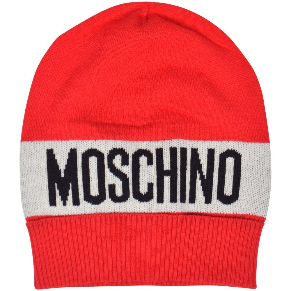 a4e02a12ee Lyst - Love Moschino Red/white Logo Beanie Hat in Red for Men