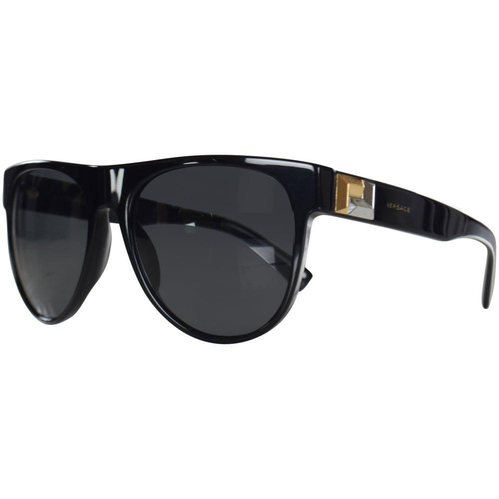 c1dc31d0de Lyst - Versace Accessories Black gold Detail Wayfarer Sunglasses in ...