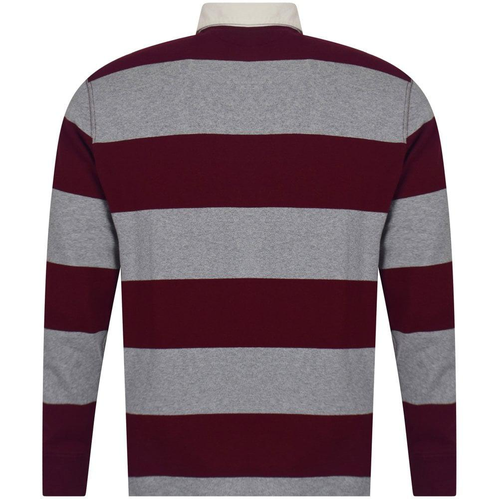 Polo Ralph Lauren Cotton Heather Grey & Burgundy Stripe ...