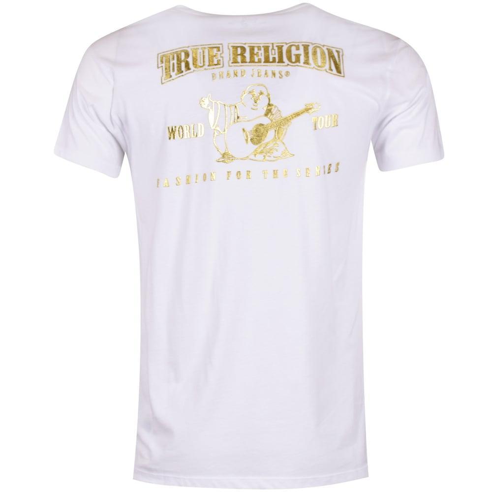 d3dc8661023166 True Religion White/gold Buddha Logo T-shirt in White for Men - Lyst