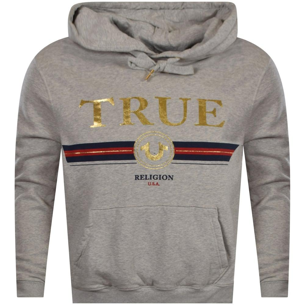 2380d1bfd True Religion Grey/gold Stripe Logo Pullover Hoodie in Gray for Men ...