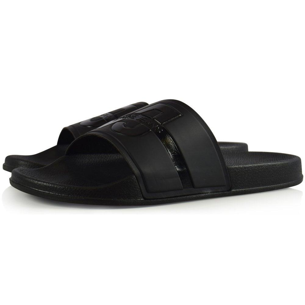 391b28e2c0a5 Versace Jeans - Black Stripe Logo Sliders for Men - Lyst. View fullscreen