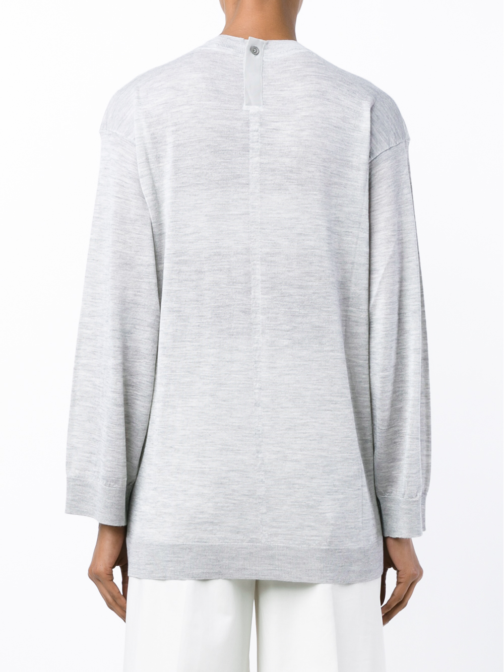 Adam lippes cashmere and silk sweatshirt in gray lyst for Adam lippes women s long sleeve vee t shirt