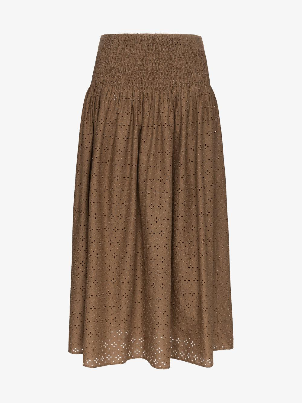 Sale Outlet Abacos embroidered smocked cotton skirt - Brown Marysia Swim Pay With Paypal Cheap Price Many Kinds Of For Sale With Paypal Low Price auinQ3
