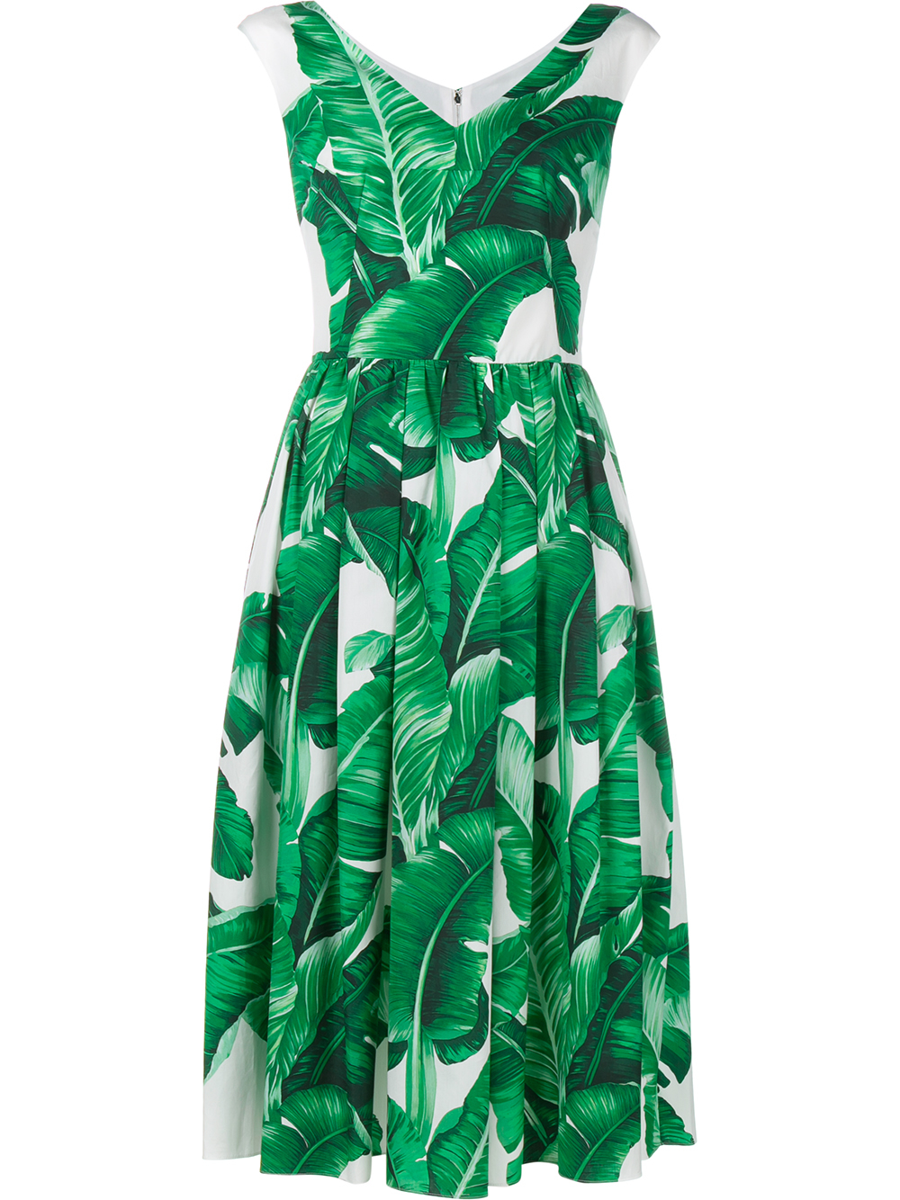Dolce amp Gabbana Sleeveless Banana Leaf Print Cotton Dress