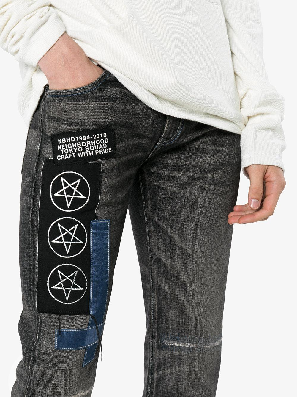 star patch denim straight jeans Neighborhood l7swQj