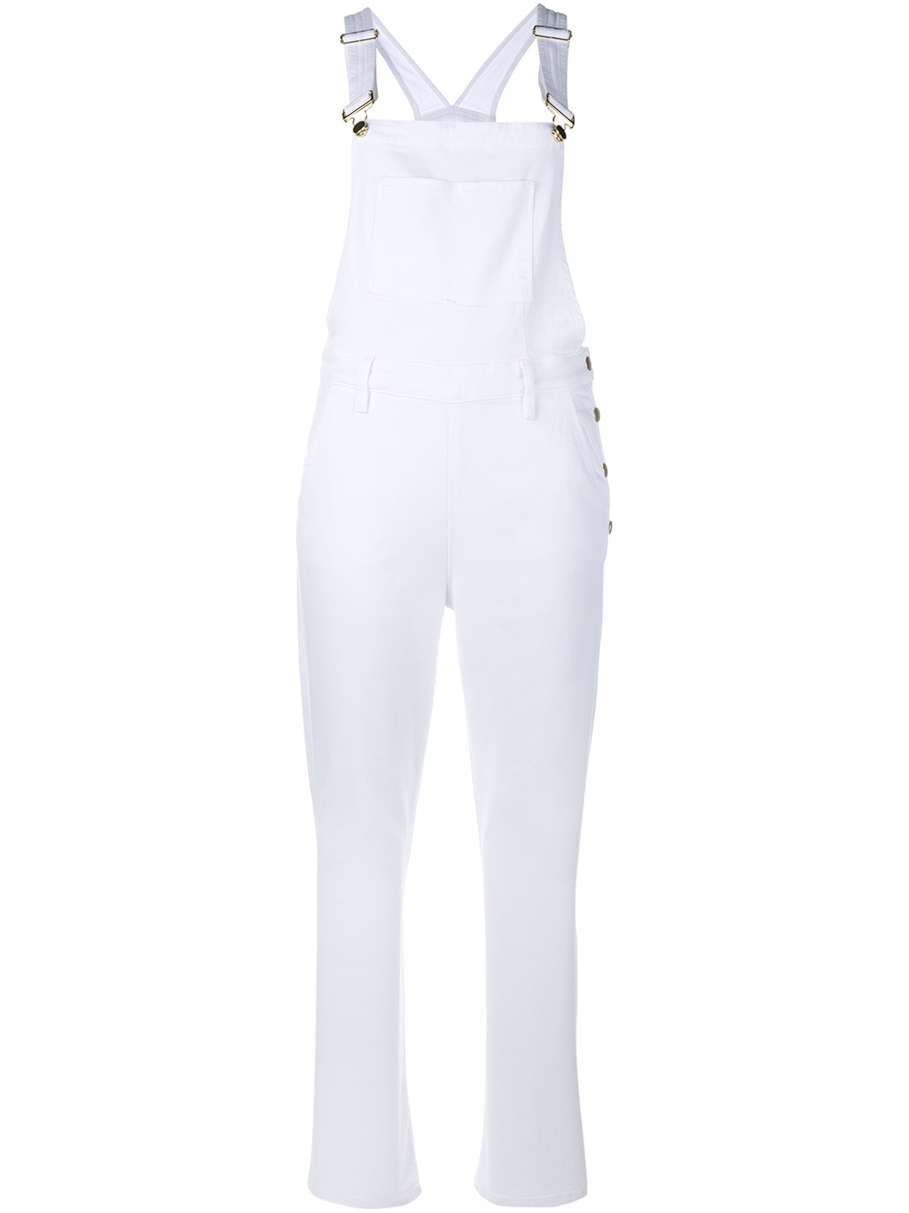 frame sleeveless denim jumpsuit in white lyst