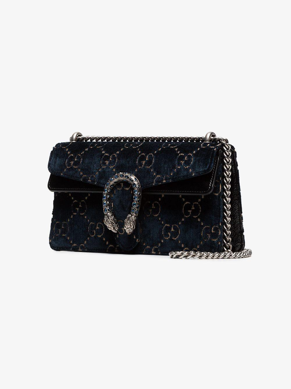 4a365453625b43 Gucci Dionysus Leather-trimmed Embossed Velvet Bag in Blue - Lyst