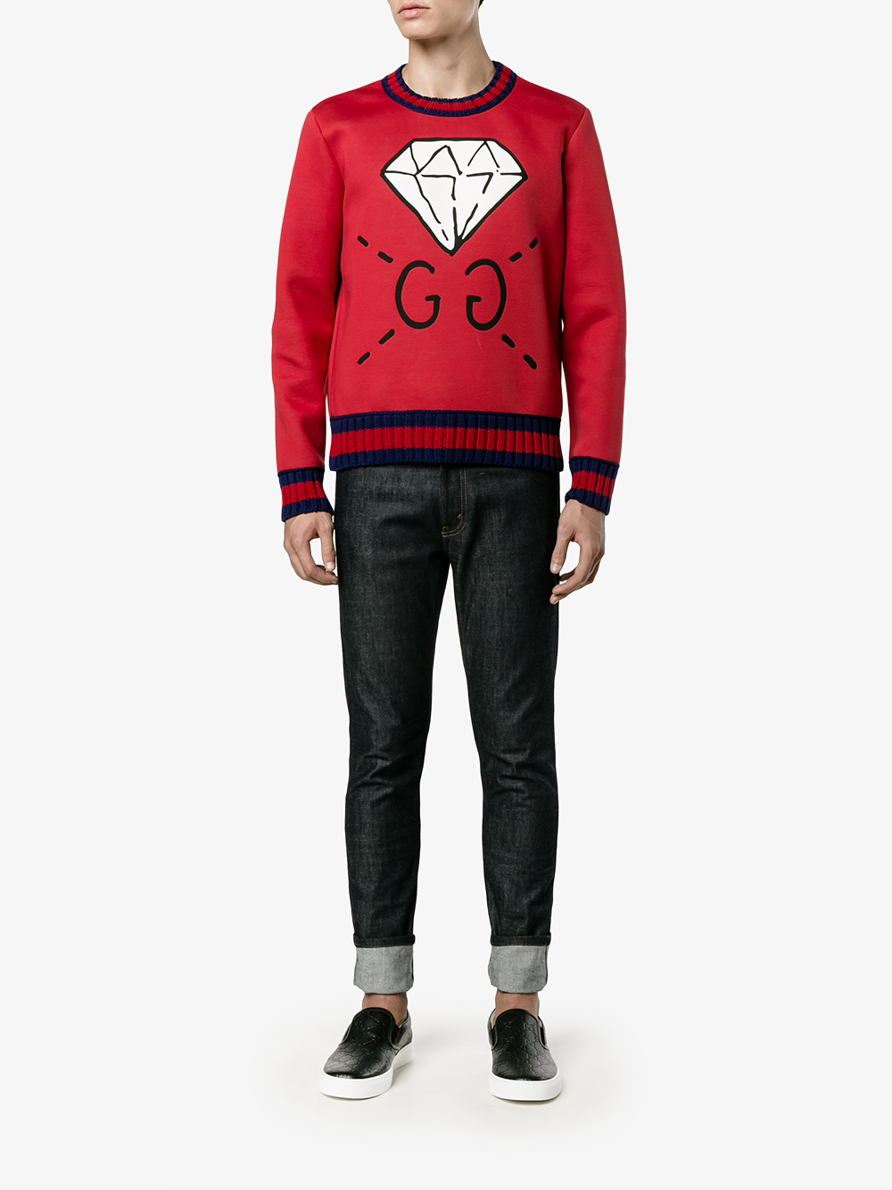 5bfe18ccb61 Gucci Ghost Diamond Print Sweatshirt in Blue for Men - Lyst