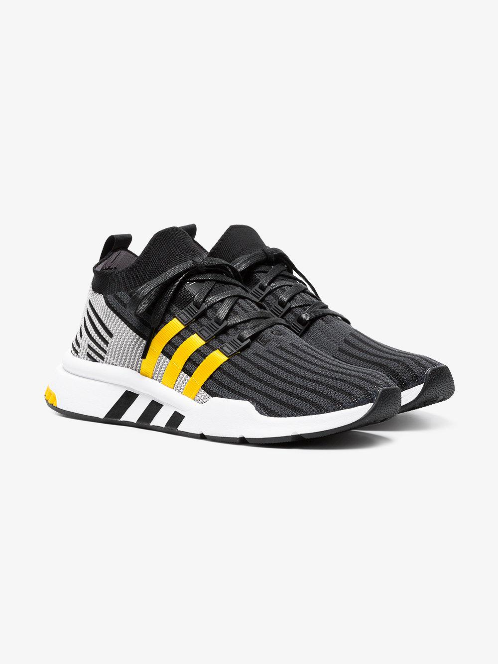 sports shoes a2609 5370e ... classic Lyst - Adidas Black And Yellow Eqt Support Mid Adv Primeknit  ... bf9b6 ...