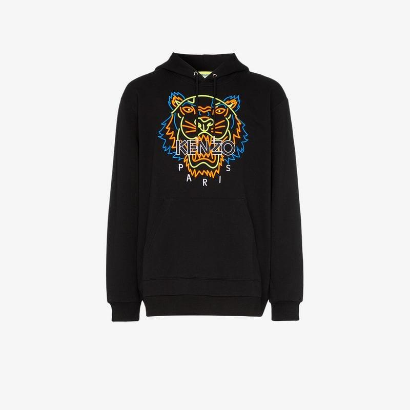 5f633720e Lyst - KENZO Neon Tiger Embroidered Hooded Cotton Jumper in Black ...