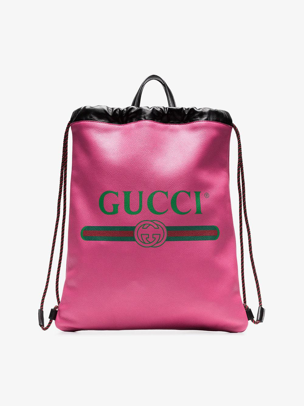 Gucci - Pink Logo Print Leather Backpack for Men - Lyst. View fullscreen 8915d3da04