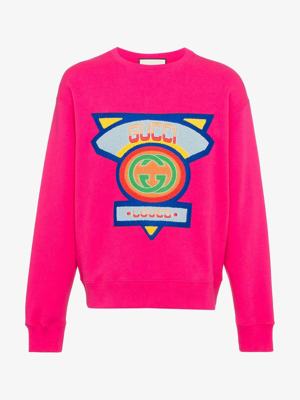 7e2a2ed85a3 Lyst - Gucci Sweatshirt With  80s Patch in Pink for Men