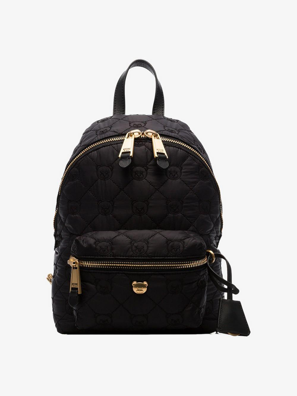 6fee0141423a7 Lyst - Moschino Black Quilted Teddy Bear Motif Backpack in Black