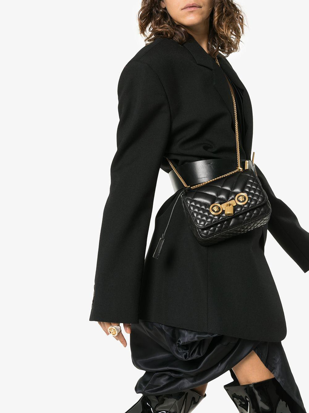 344de2e241a3 Lyst - Versace Black Small Quilted Leather Shoulder Bag in Black