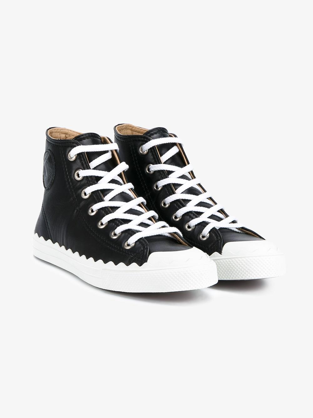 chlo kyle leather hi top sneakers lyst. Black Bedroom Furniture Sets. Home Design Ideas