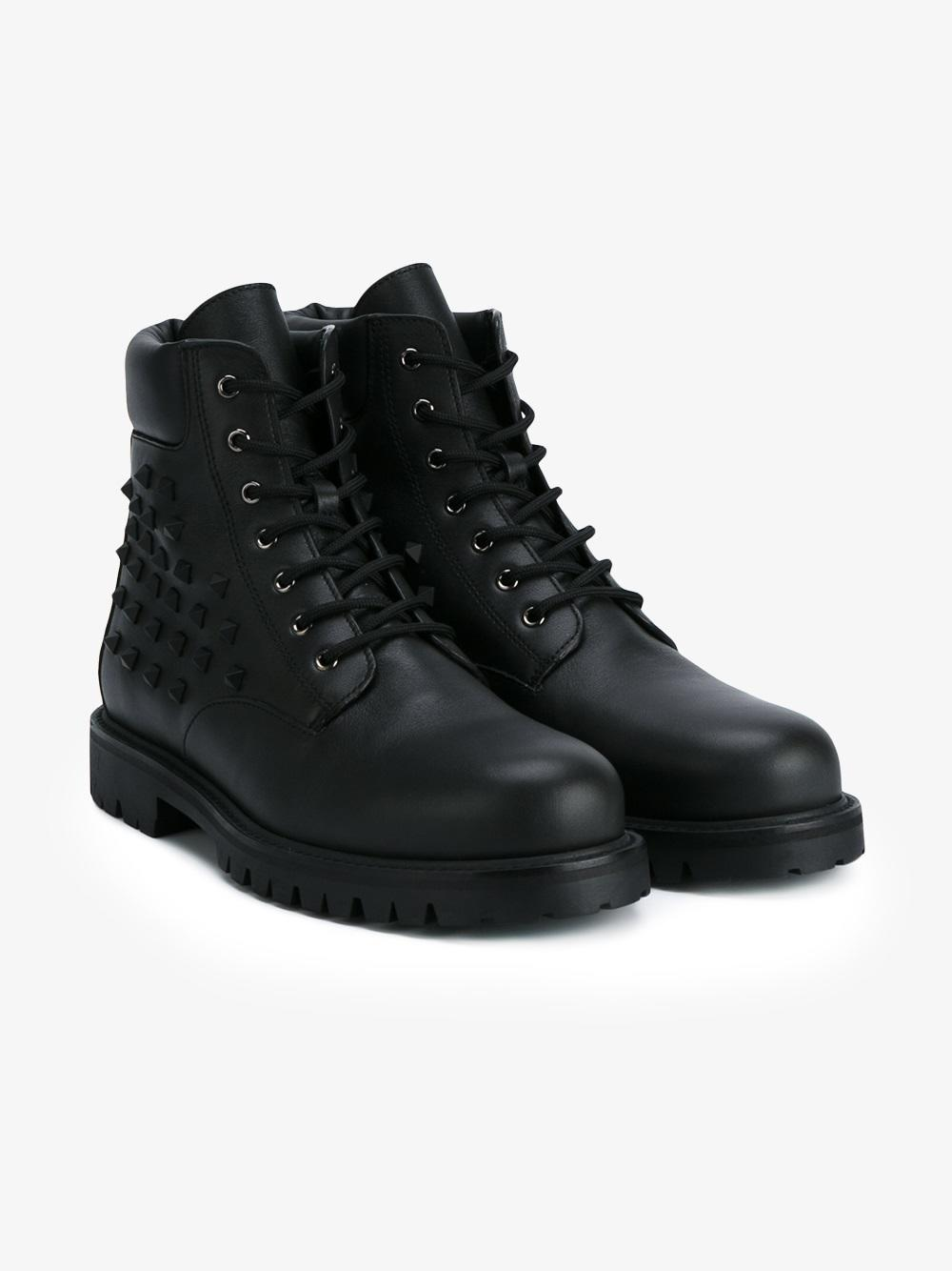 b1d92a2eb5fc Valentino Rockstud Lace-up Combat Boot for Men