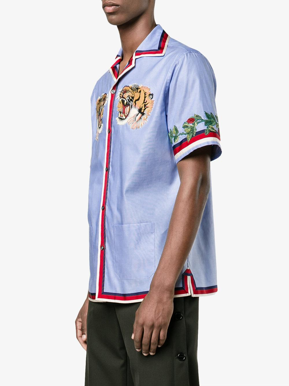 Gucci Tiger Embroidered Bowling Shirt In Blue For Men Lyst