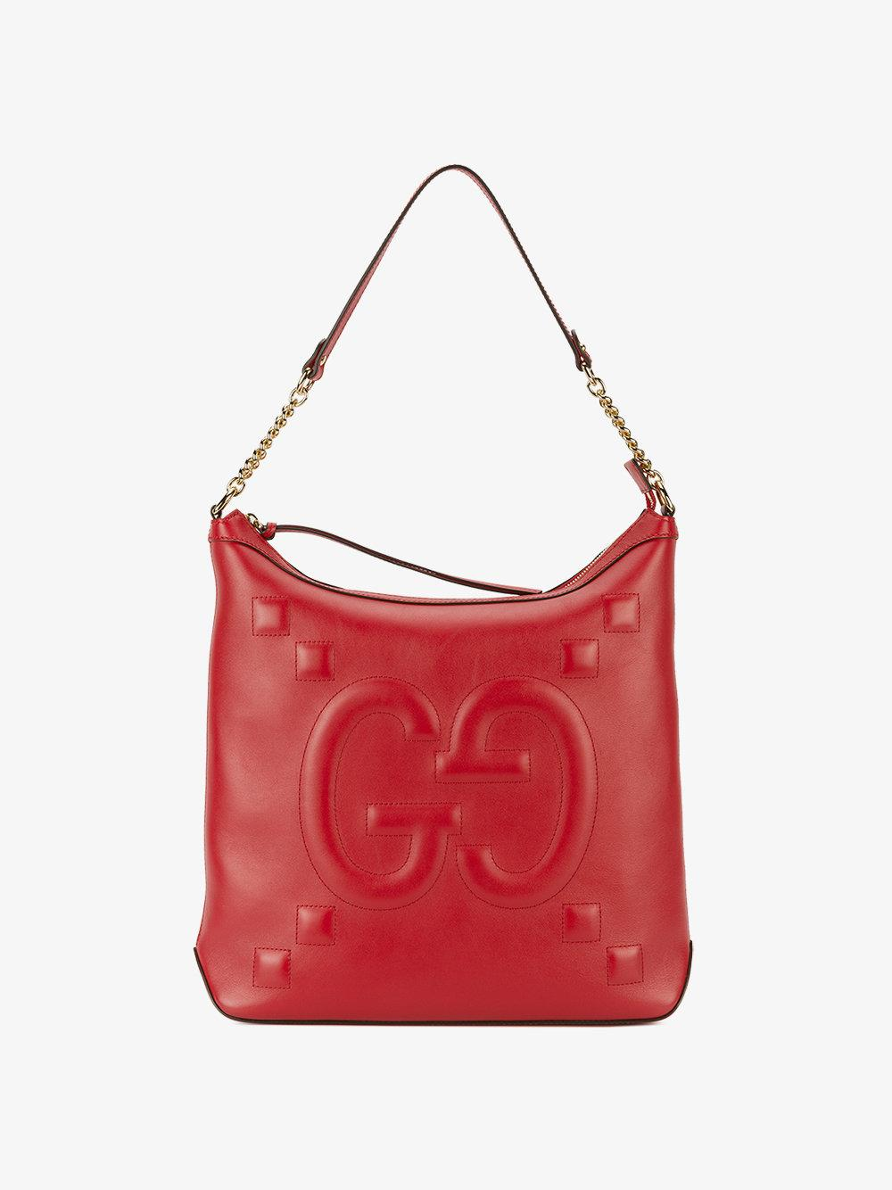 d74af7f329e7 Lyst - Gucci Ghost Embossed Bag in Red