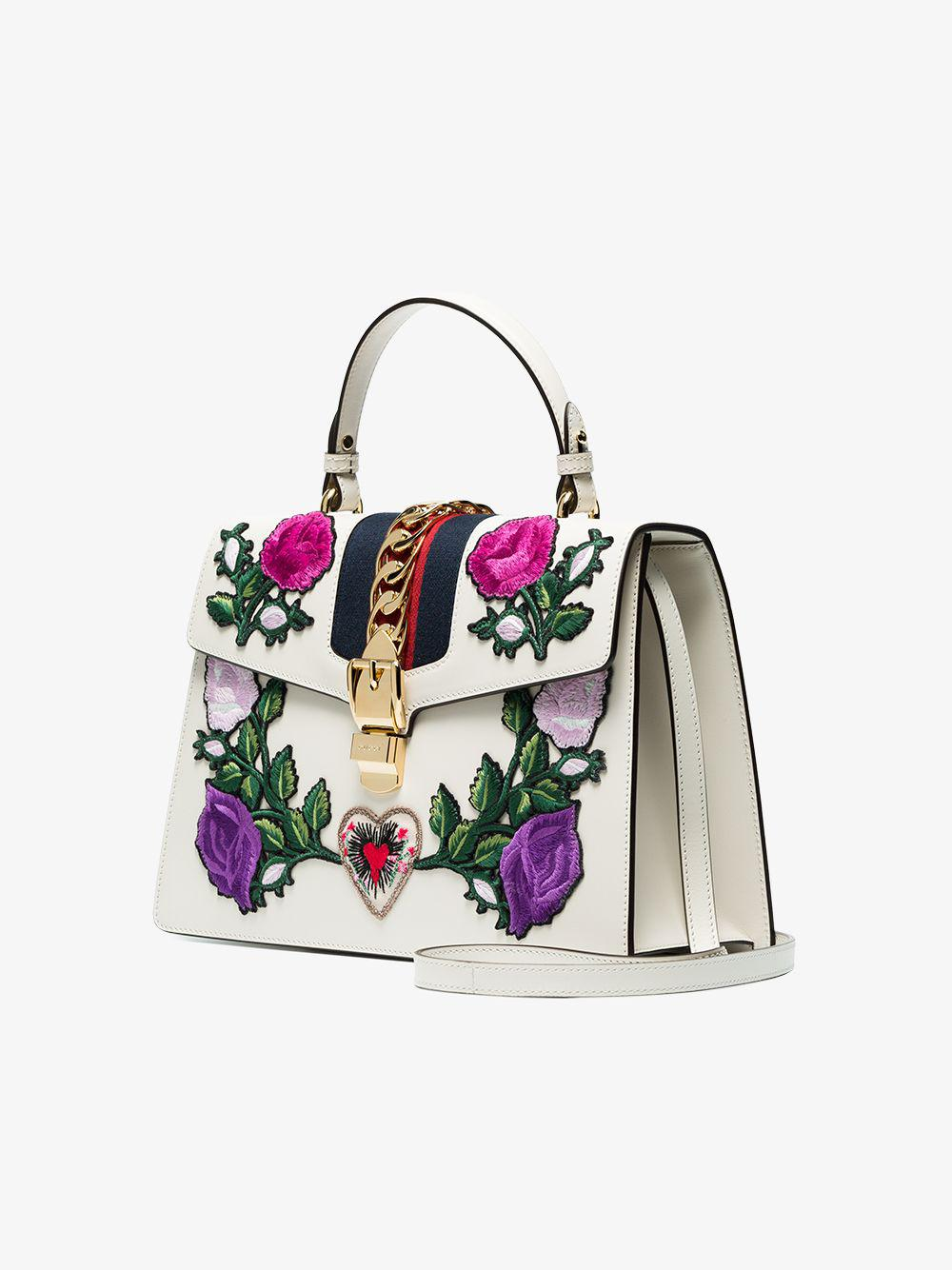 72d5510a116 Gucci - White Sylvie Embroidered Medium Top Handle Bag - Lyst. View  fullscreen