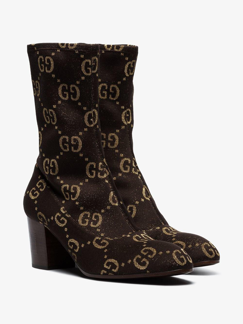 ec747b79f4a Lyst - Gucci GG Logo Boots in Brown for Men