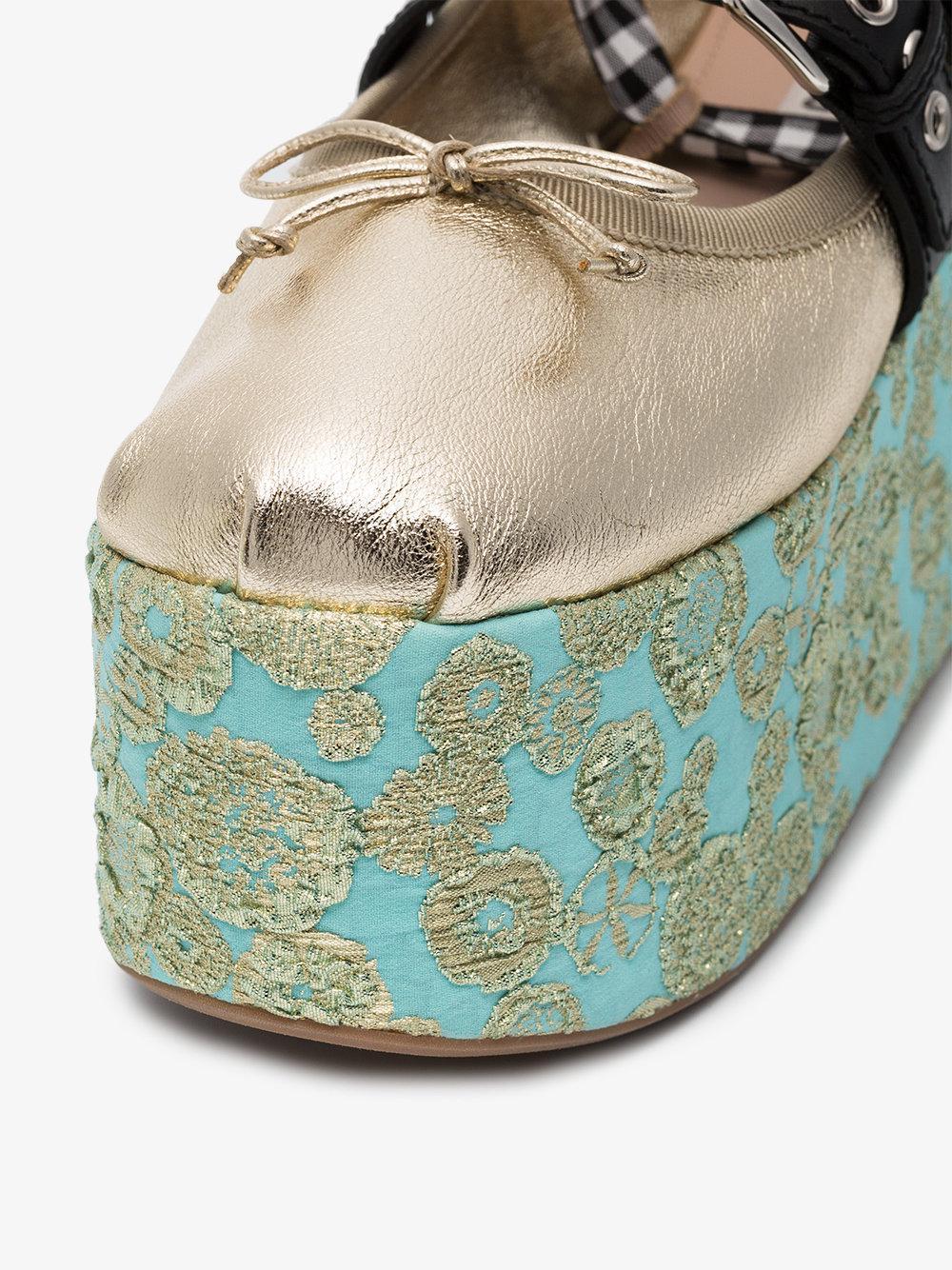 75 Chaussures Plate-forme Jacquard - Miu Miu Métallique Bm7EZa