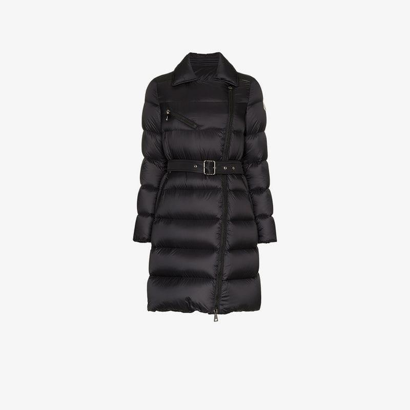72066e8b56f2 Moncler Gelinotte Belted Feather Down And Virgin Wool Coat in Black ...