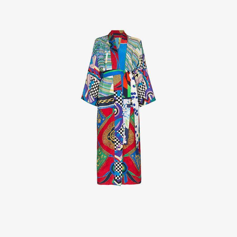 5941eeefea Rianna + Nina. Women s Blue Long Multi Checkerboard Floral Print Silk  Kimono Robe