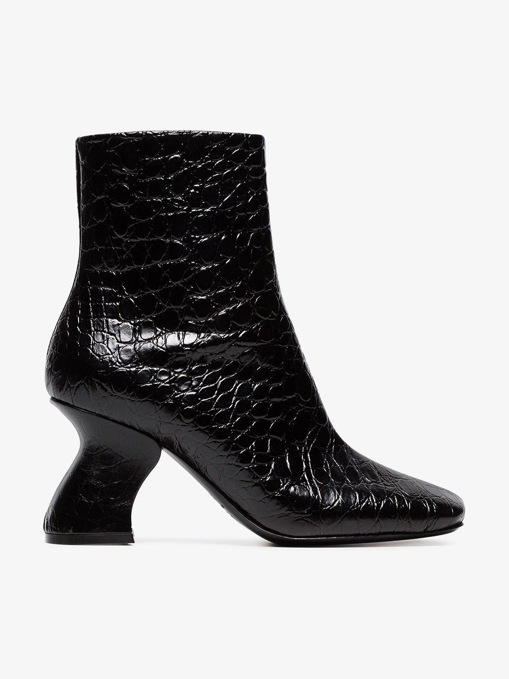 3f831a8504c3bc Dries Van Noten - Black Snakeskin Embossed 80 Leather Ankle Boots - Lyst.  View fullscreen