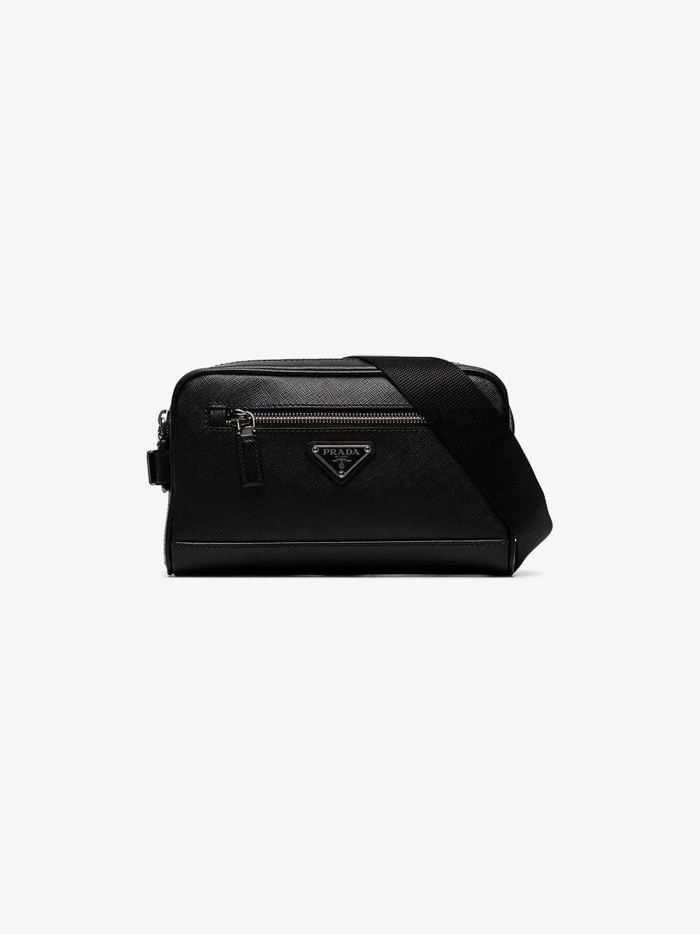 1d3d4e718ff3 Prada Triangle Logo Belt Bag in Black for Men - Lyst