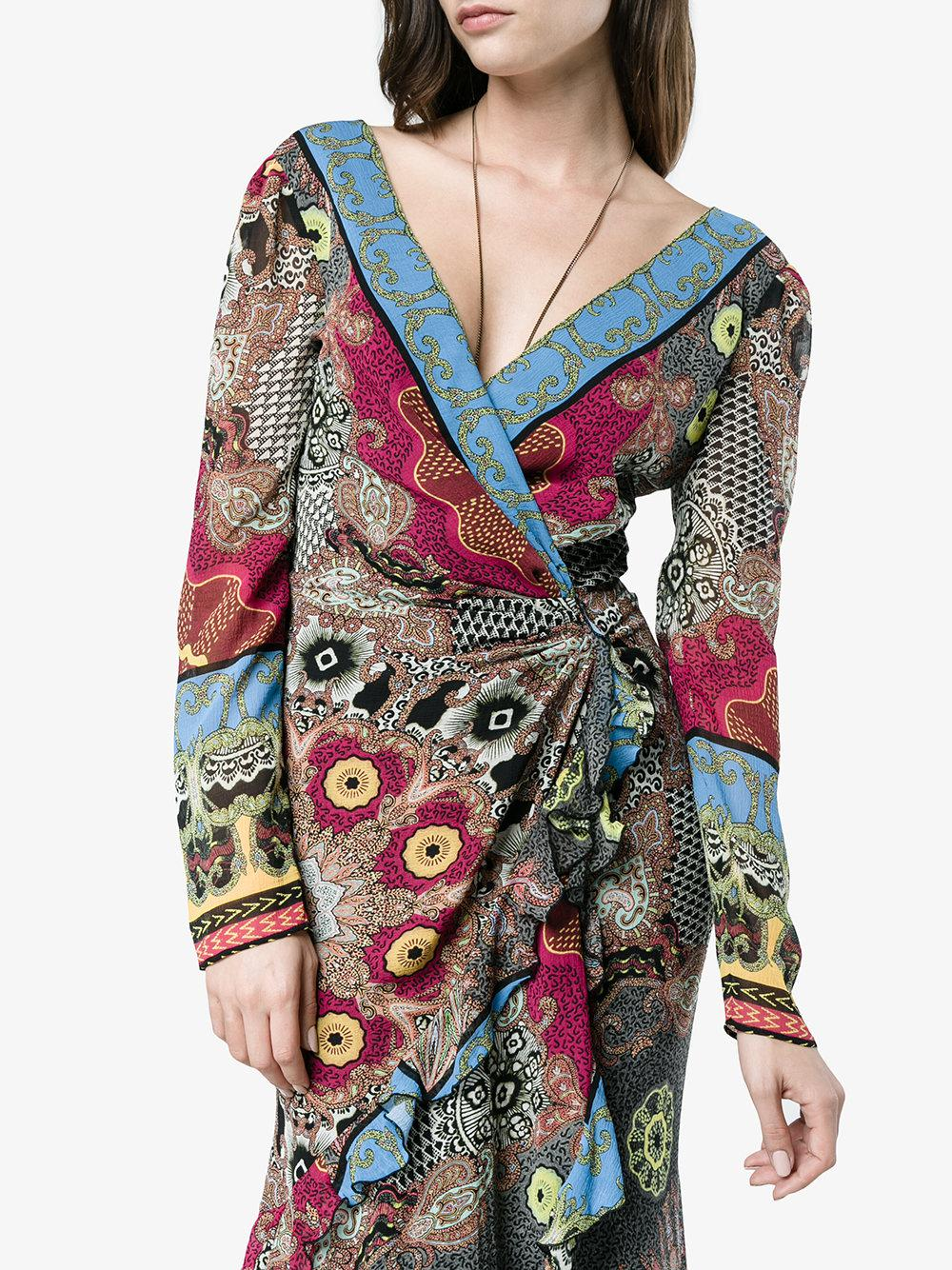 deep-V printed wrap dress - Brown Etro LZMvFN