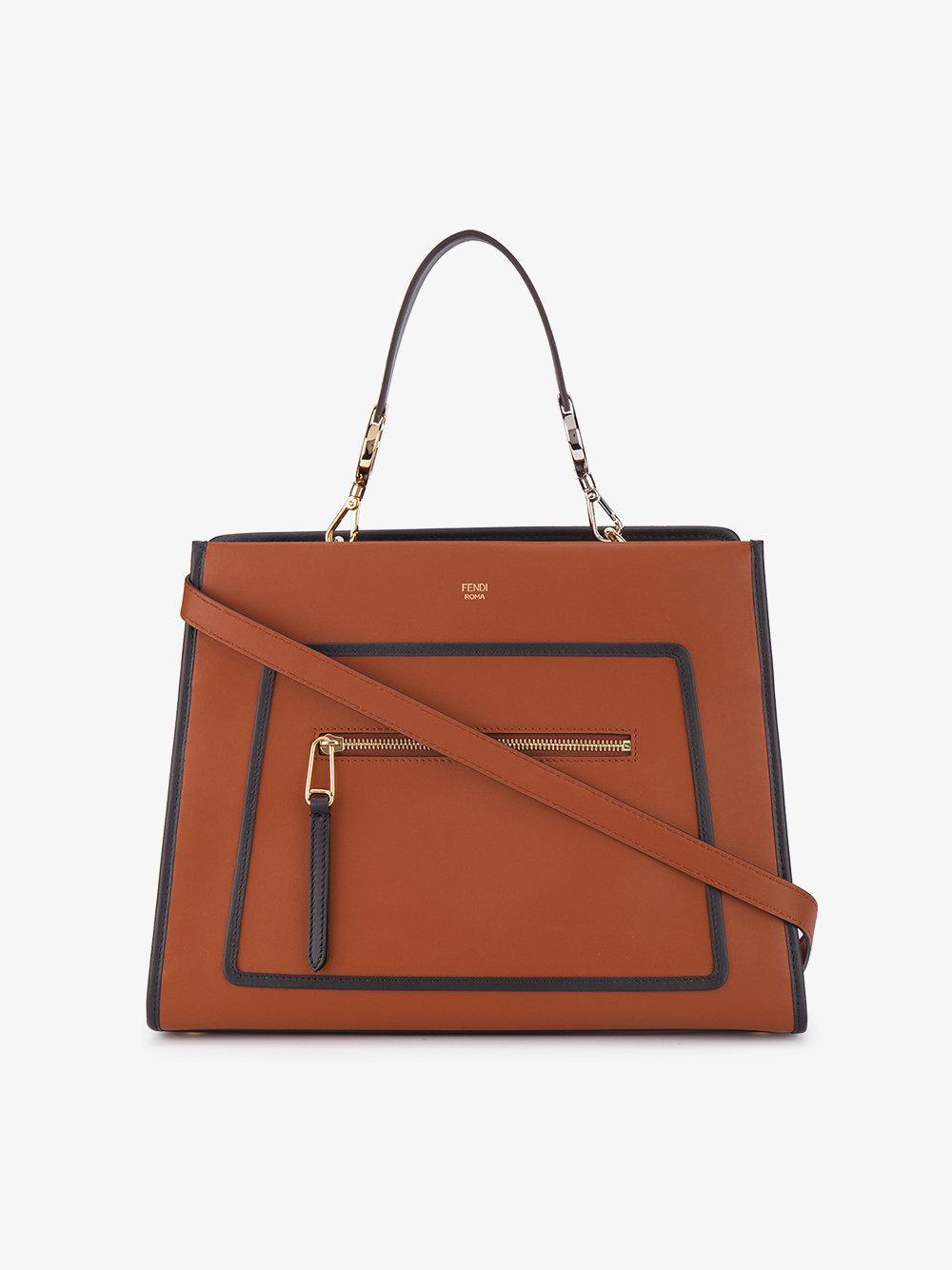 532244de1601 Fendi Large Runaway Box Bag in Brown - Lyst