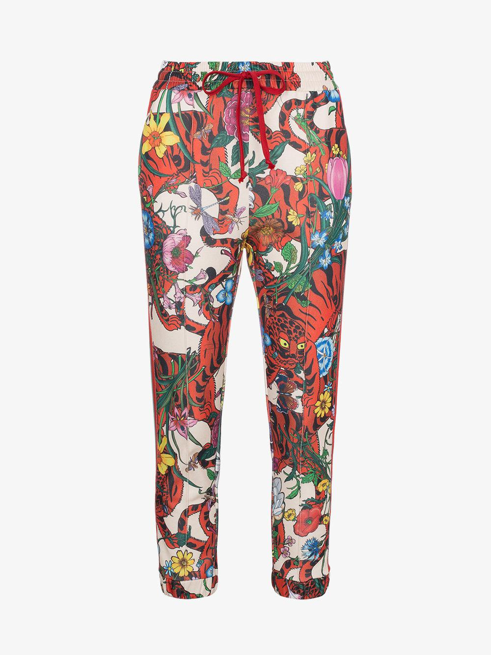 dd94b2f6e5fd Gucci Floral Track Pants With Stripe Detailing in Blue - Lyst