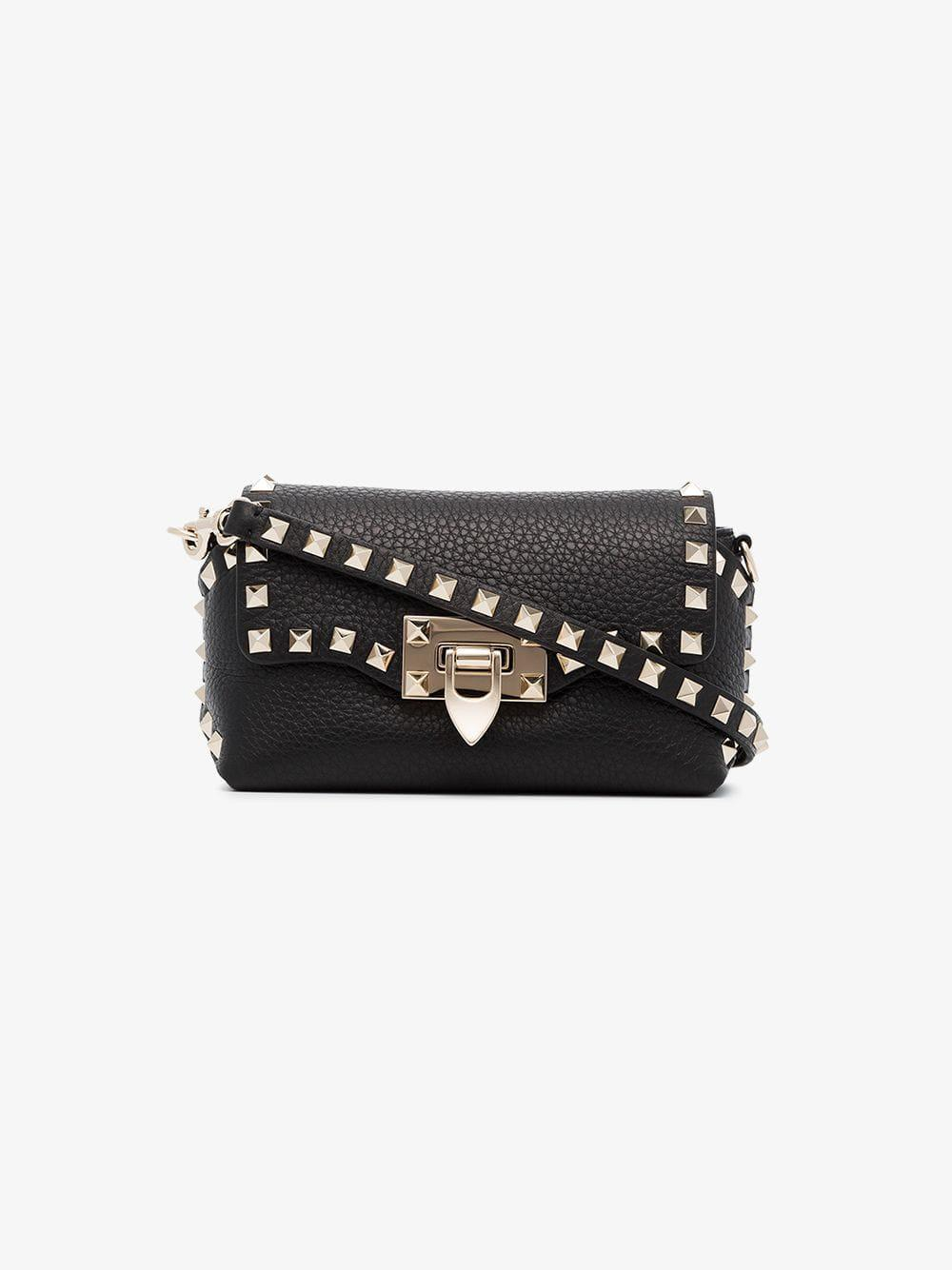 133c0b90e271 Valentino - Black Rockstud Mini Leather Crossbody Bag - Lyst. View  fullscreen
