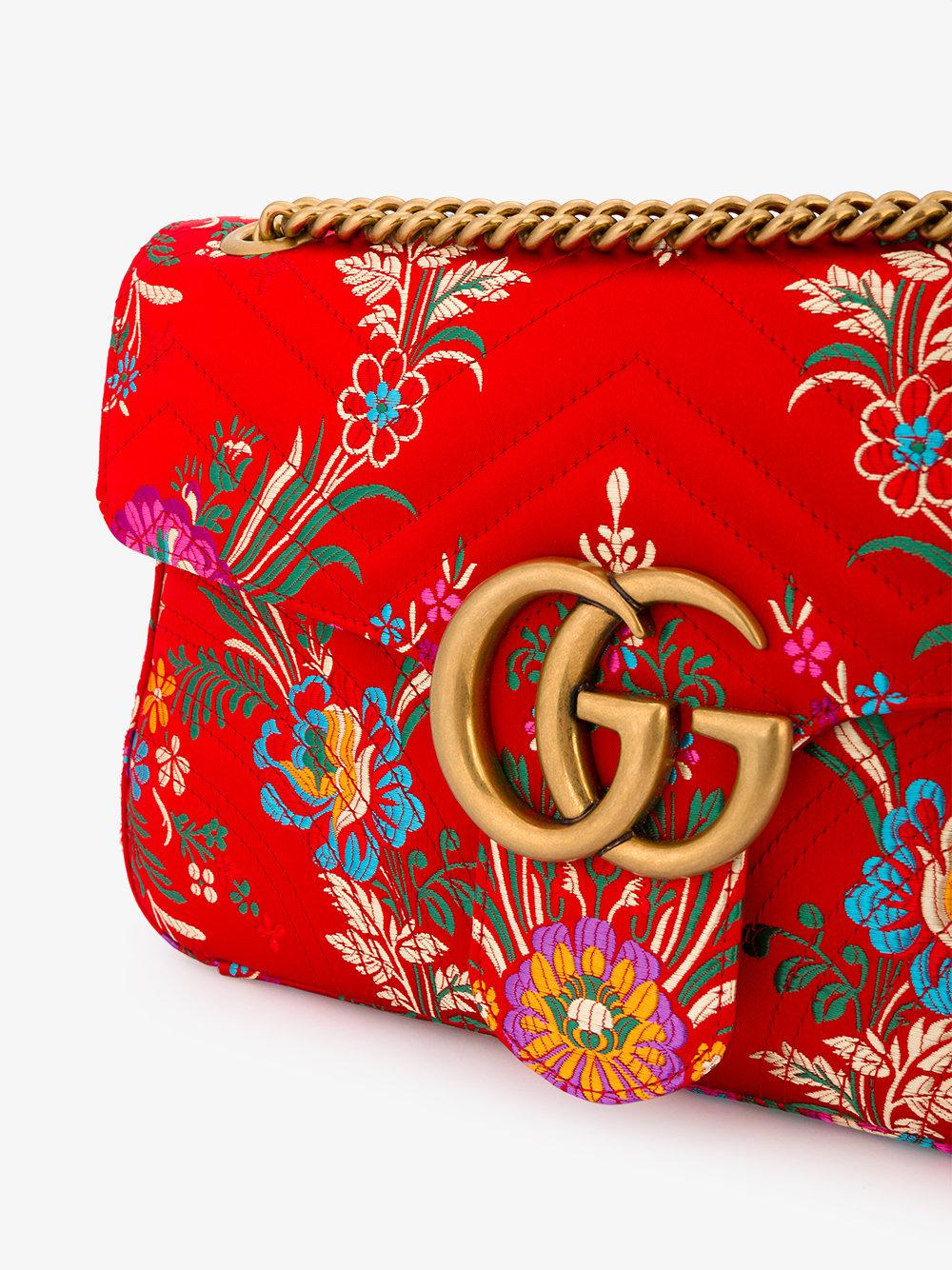d8d272eb7d53 Gucci Red Medium Marmont 2.0 Floral Print Shoulder Bag in Red - Lyst