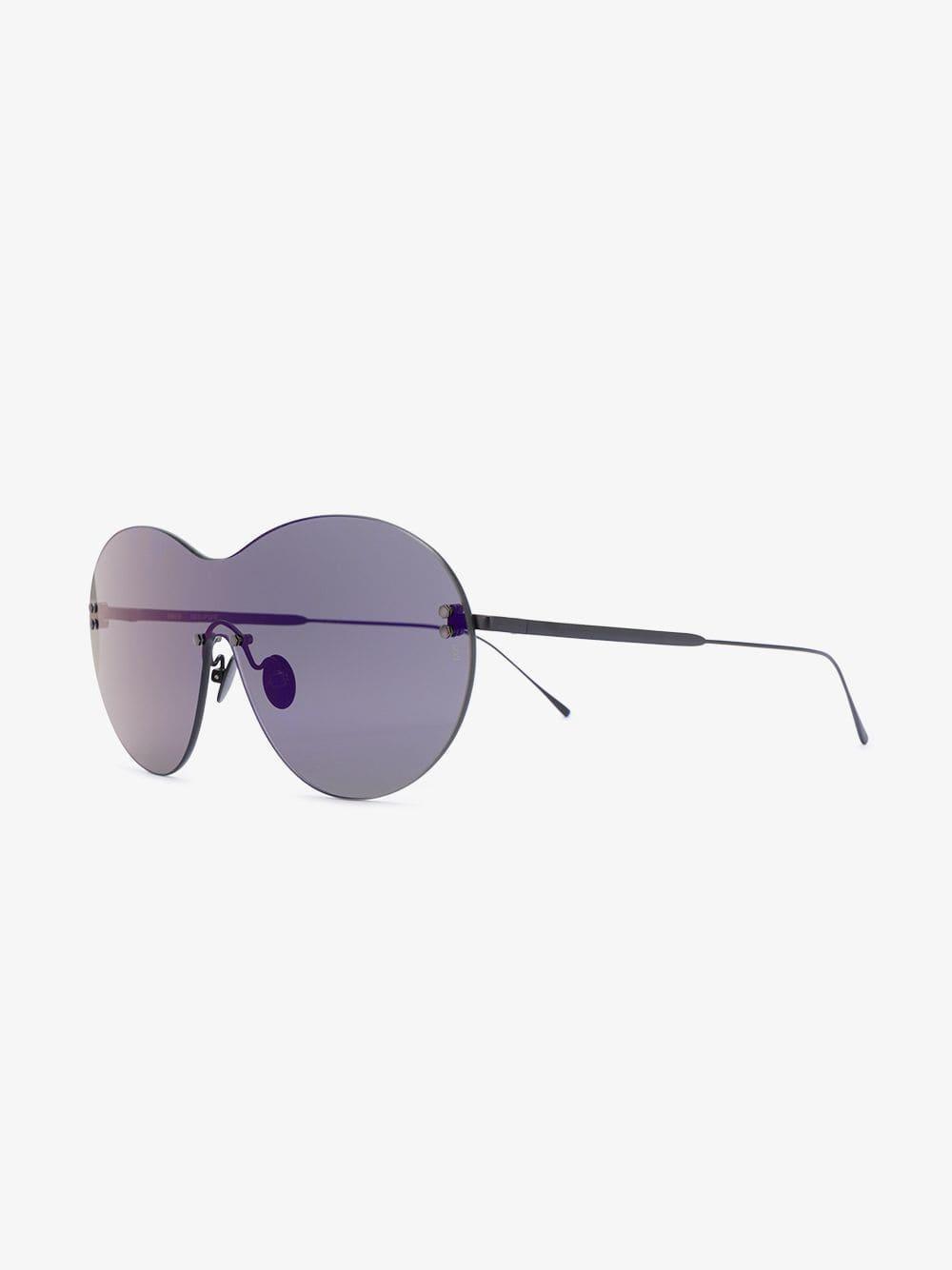 96a2aa76045e4 Sunday Somewhere Ladies Black Purple Iris Shield Sunglasses