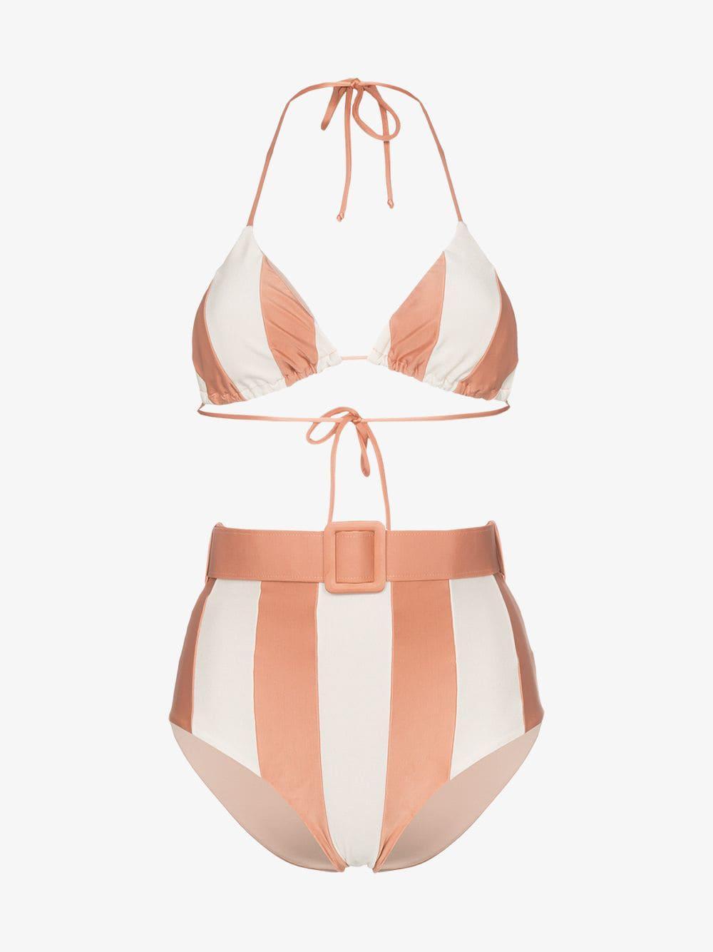 dc7b95321f72b Adriana Degreas - Pink Porto Striped Belted Waist Bikini Set - Lyst. View  fullscreen