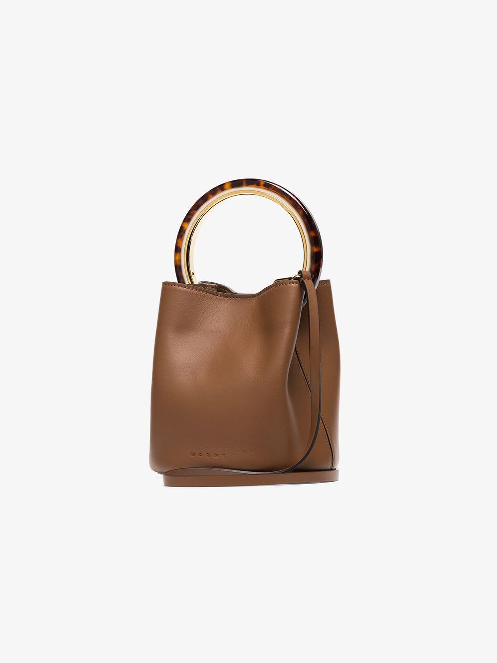 Bag Marni In Bucket Lyst Pannier Handle Brown Leather Resin ZOPkiTXu